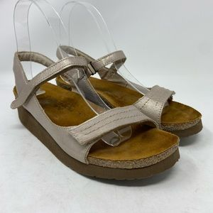 Naot Metallic Gold Leather Strap Wedge Sandals